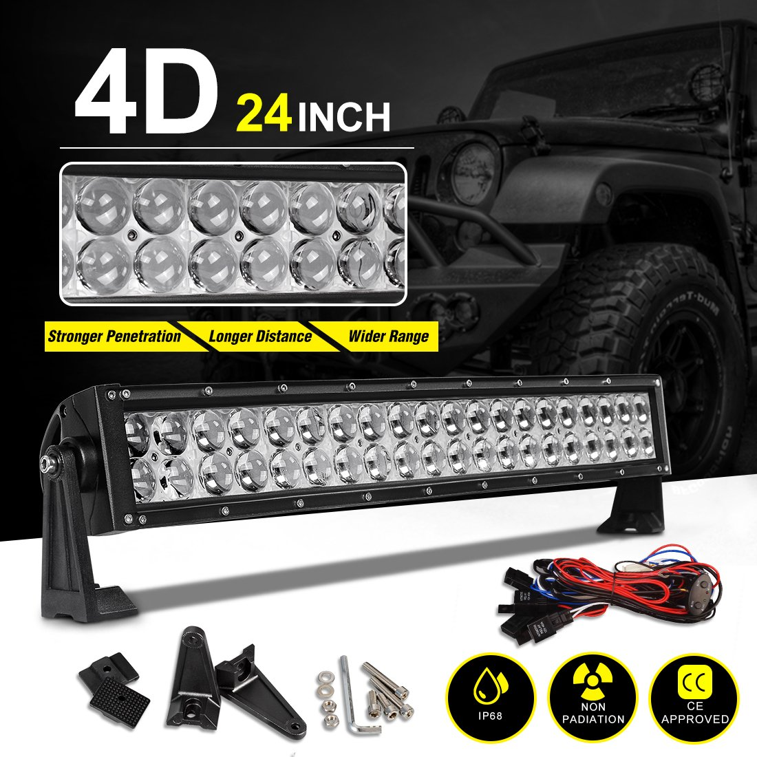2 Years Warranty LED Light Bar 52Inch 4D 500W Curved Working Lights 45000Lumens Lamp Marine Boating Light IP68 WATERPROOF Spot /& Flood Combo Beam Light Bar