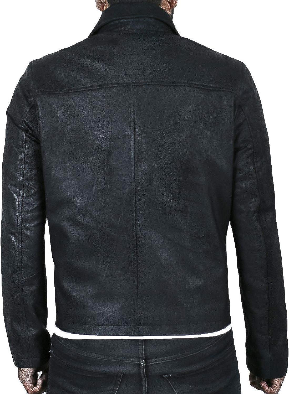 1501814 Laverapelle Mens Genuine Lambskin Leather Jacket Black, Aviator Jacket