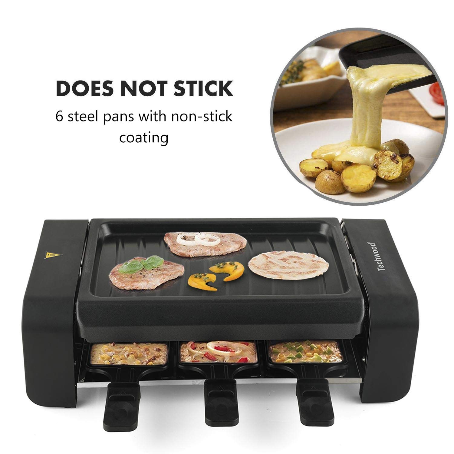 Techwood Raclette Grill Electric Tabletop Raclette Grill Raclette Party Grill 900W Adjustable Temperature Knob Non-Stick Grilling Surface Compact Easy Clean