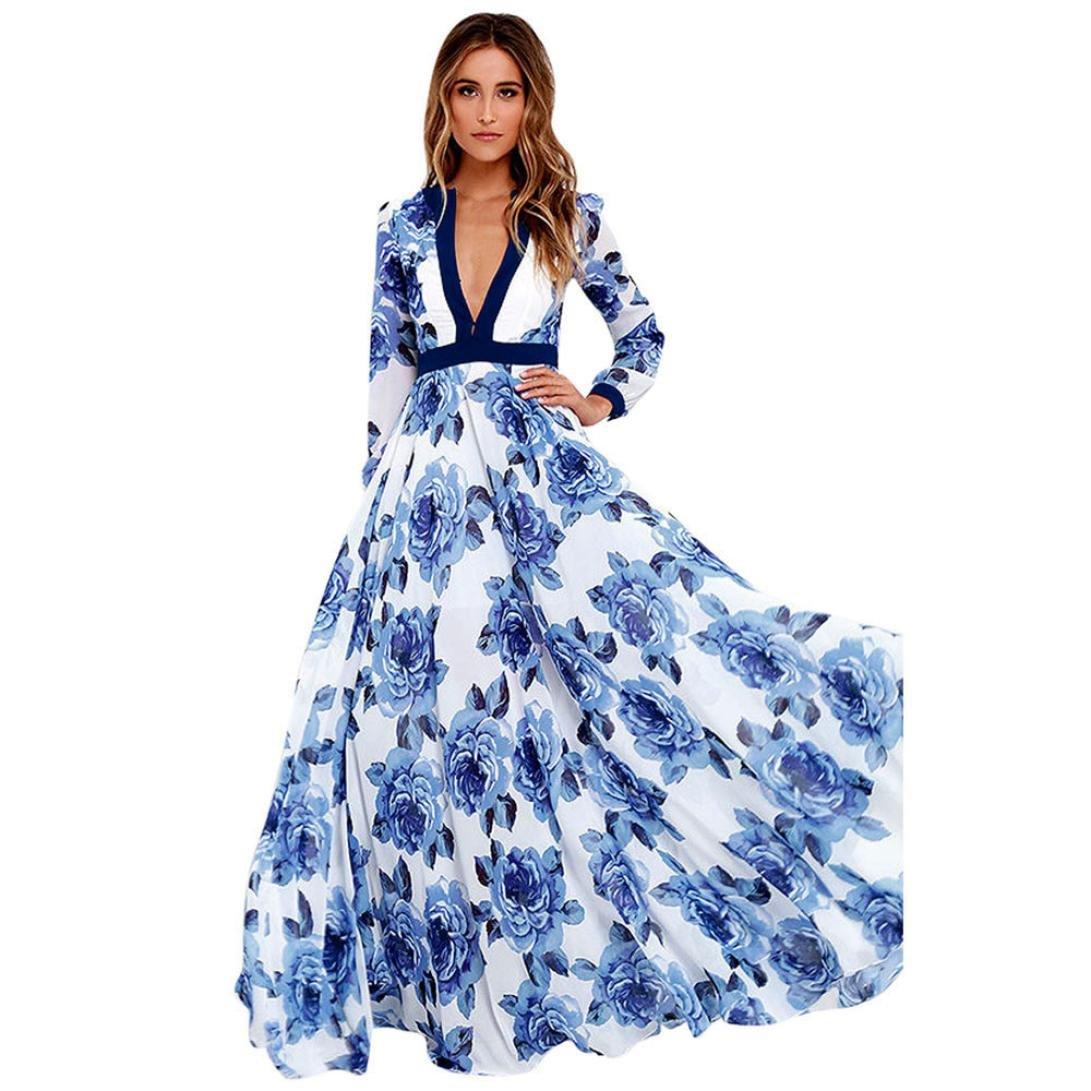 Pengy Women Summer Boho Style Long Sleeve V Neck Floral Printed Pleated Chiffon Long Dress Beach Dress (Blue, S)