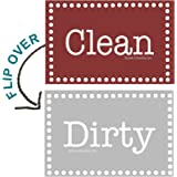 "3.5"" X 2"" Double Sided Dishwasher Flip CLEAN & DIRTY Premium 45 mil Dishwasher Magnet MADE in USA (Burgundy & Gray Rectangle)"