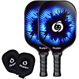 Pickleball Paddles - 2 Pickleball Paddles Set Lightweight 8oz Graphite Pickleball Rackets Honeycomb Composite Core Pickleball Racquet Edge Guard Ultra Cushion Grip Pickleball Paddles With Cover