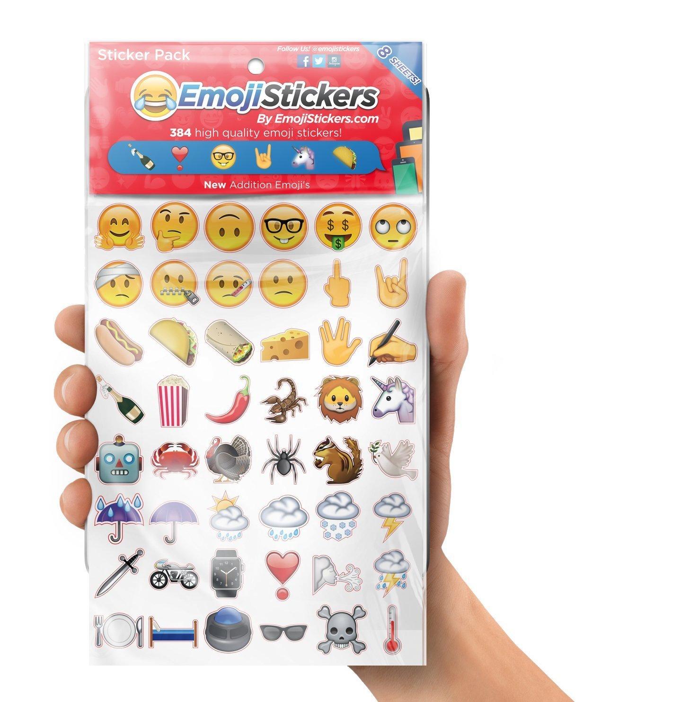 Emoji Stickers Universe |Scrapbooks, Presents, Birthday Gift,Crafts | 384 Vinyl New Emoji Stickers - 8 Sheets