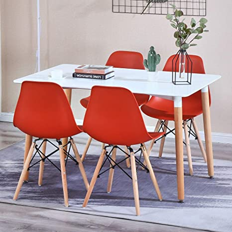 Dining Table And Patchwork Chair Set Of 4 Fabric Retro Style Armchair And Rectangular Table Dining Room Set Home Office Furniture Dining Room Furniture Dining Room Sets
