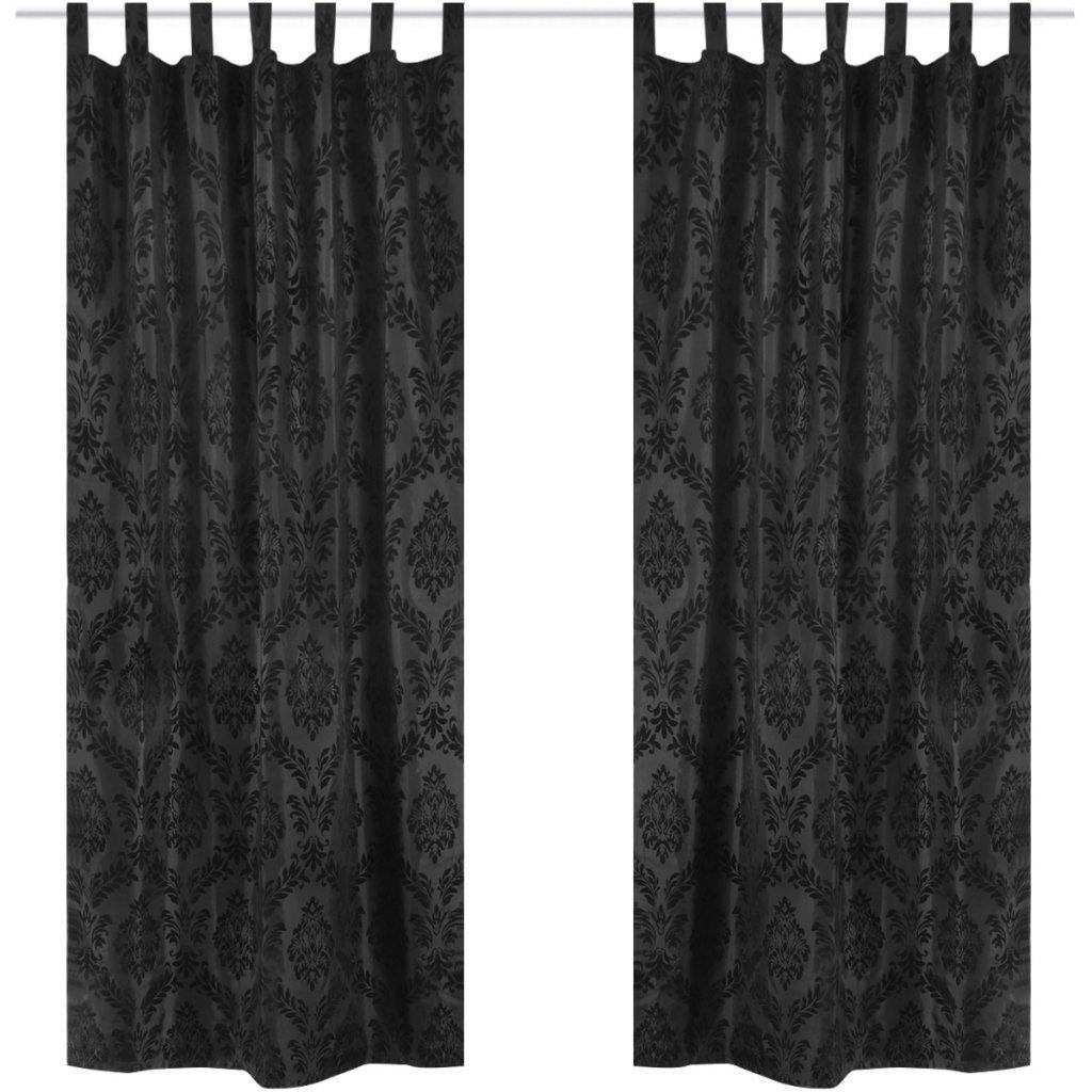 Festnight 2 Cortinas Negras con Motivos Florales 140 x 225 cm