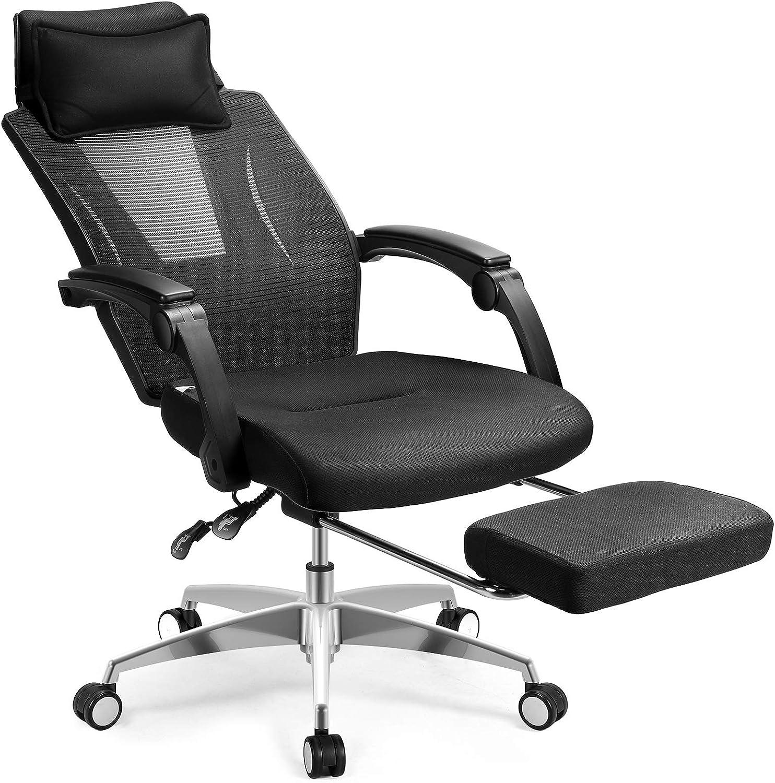 MFAVOUR Ergonomischer Bürostuhl für Büro, Schreibtisch, mit Fußstütze, verstellbarer Stuhl, Tragkraft 150 kg, Schwarz
