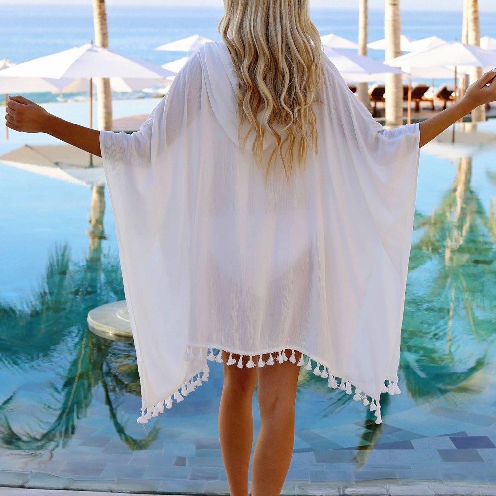 Women Tassel Tops V-Neck Chiffon Bikini Smock Fashion Swimwear Suit Tootu