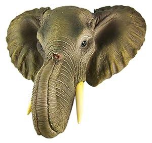 Wonder World African Elephant Head Mount Wall Statue Mini Bust 9 in.