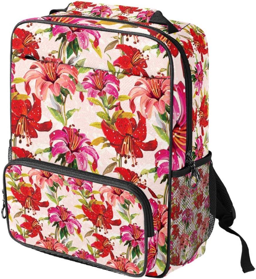 Casual School Backpack Red Lilies Flowers Floral Pattern Print Laptop Rucksack Multi-Functional Daypack Book Satchel