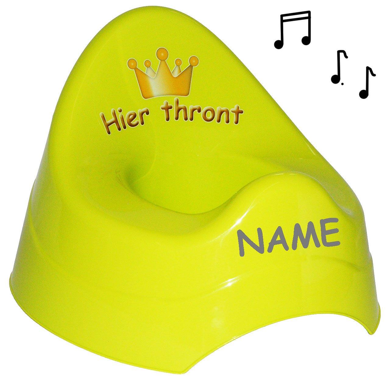 GR/ÜN Krone f/ür Prinzen /& Prinzessinnen Hier thront M.. Namen gro/ß mit gro/ßer Lehne Spritzschutz incl mit Musik // Sound Unbekannt T/öpfchen // Nachttopf