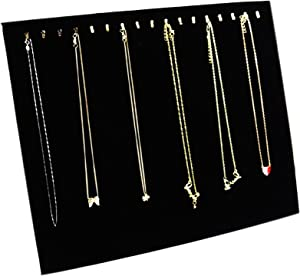 Ogrmar Black Velvet 17 Hook Necklace Jewelry Tray/Display Organizer/Pad/Showcase/Display case (17 Hook Necklace Display)