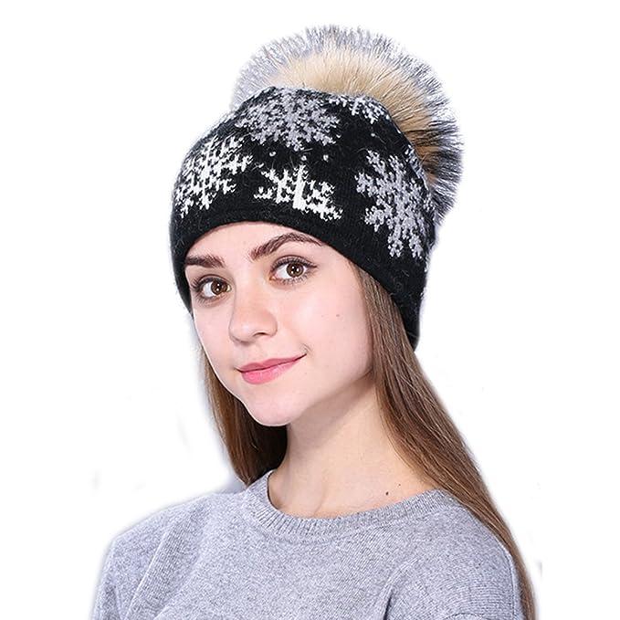 Amazon Hter Lady Women Winter Wool Fiber Snowflake Pattern Pom