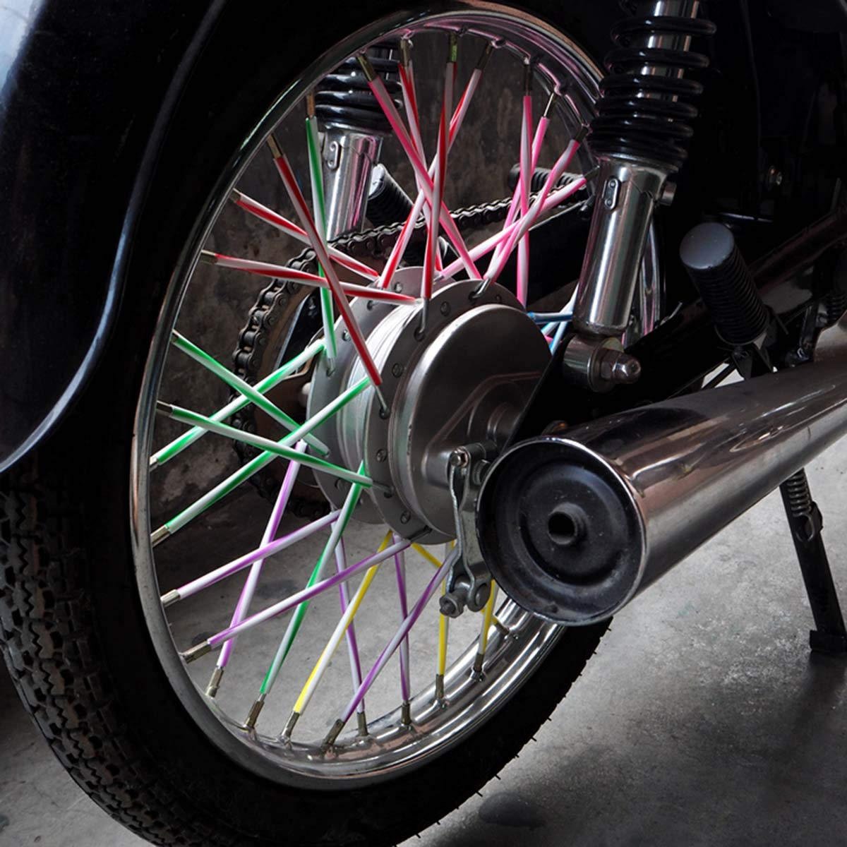 Blue-White LIOOBO 72pcs Spoke Skins Covers Motorcycle Motocross Dirt Bike MTB Wheel Rim Spoke Wraps Protector Kit