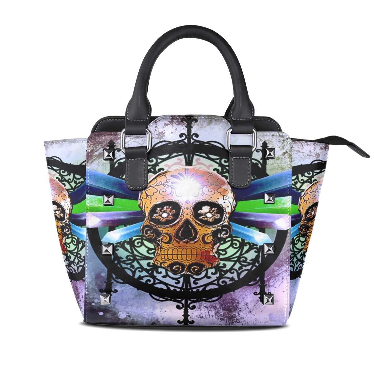 Design5 Handbag Sector Genuine Leather Tote Rivet Bag Shoulder Strap Top Handle Women