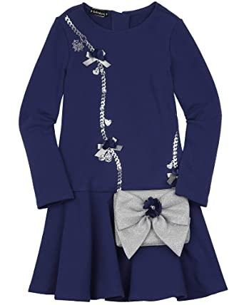 159ee5426 Amazon.com: Kate Mack Girls' Holiday Magic Dress with Purse in Navy ...