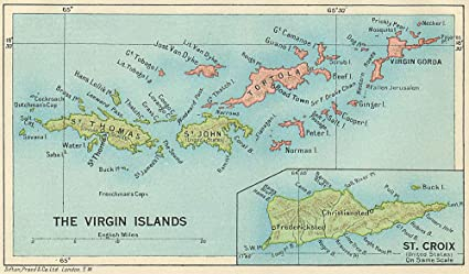 Amazoncom Britishus Virgin Islands Tortola Virgin Gorda St Croix - Old-map-of-us