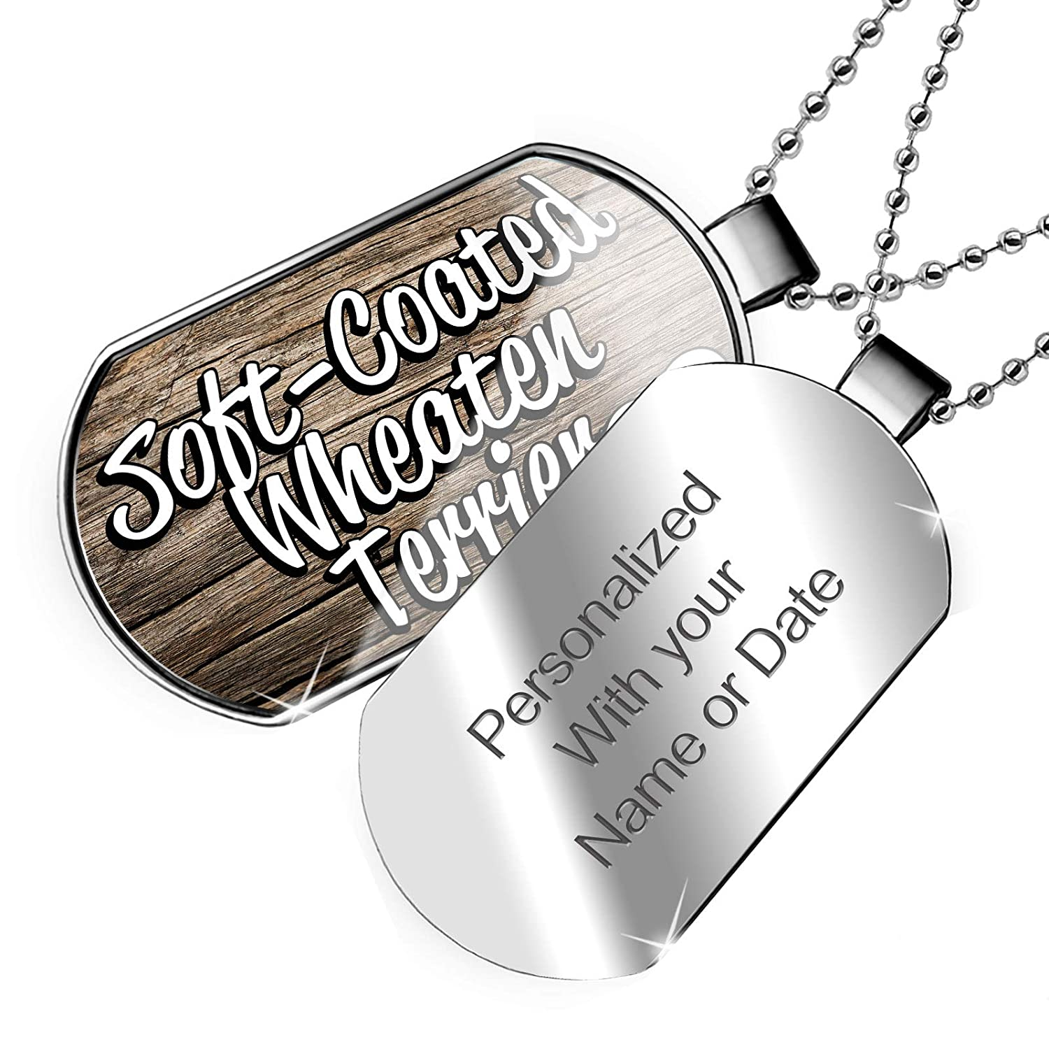 Dog Breed Ireland Dogtag Necklace NEONBLOND Personalized Name Engraved Soft-Coated Wheaten Terrier