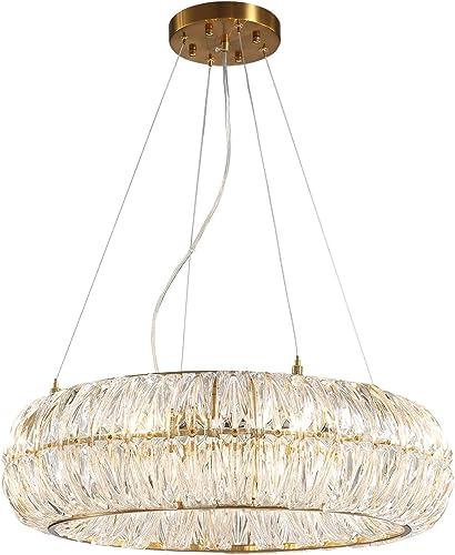 SILJOY Luxury Post-Modern Crystal Chandelier Circular Ring Pendant Ceiling Light Fixture