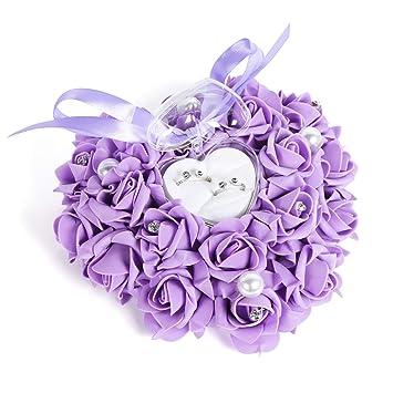 Yosoo - Caja de anillo 15 x 13 cm en forma de rosa romántica ...