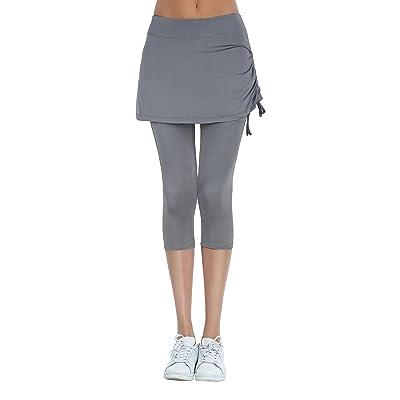 HonourSport Women's Cropped Leggings Side Drawstring Running Capri Skirt