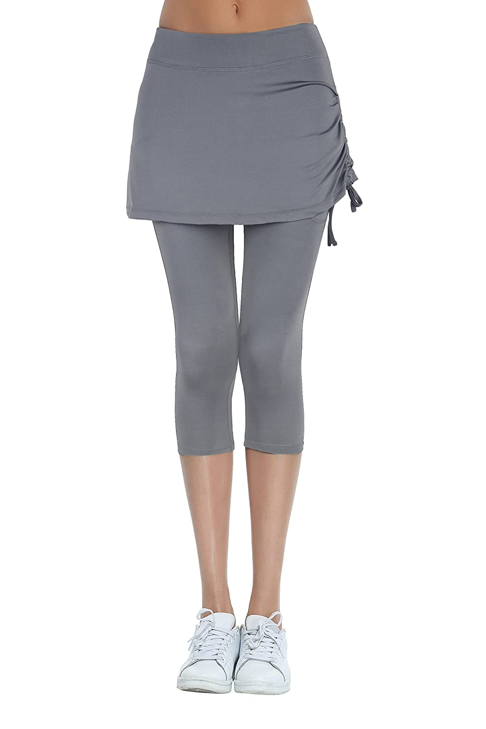 HonourSport Donna leggings con gonna Gonna da tennis pantaloni capri 2 in 1
