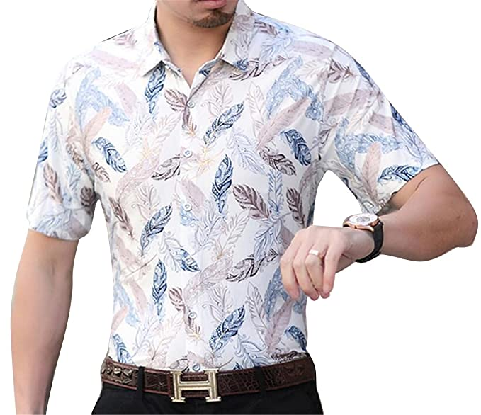 acc0ef59 ARTFFEL Mens Plus Size Floral Print Non-Iron Business Slim Fit Short Sleeve  Button Down Shirts at Amazon Men's Clothing store: