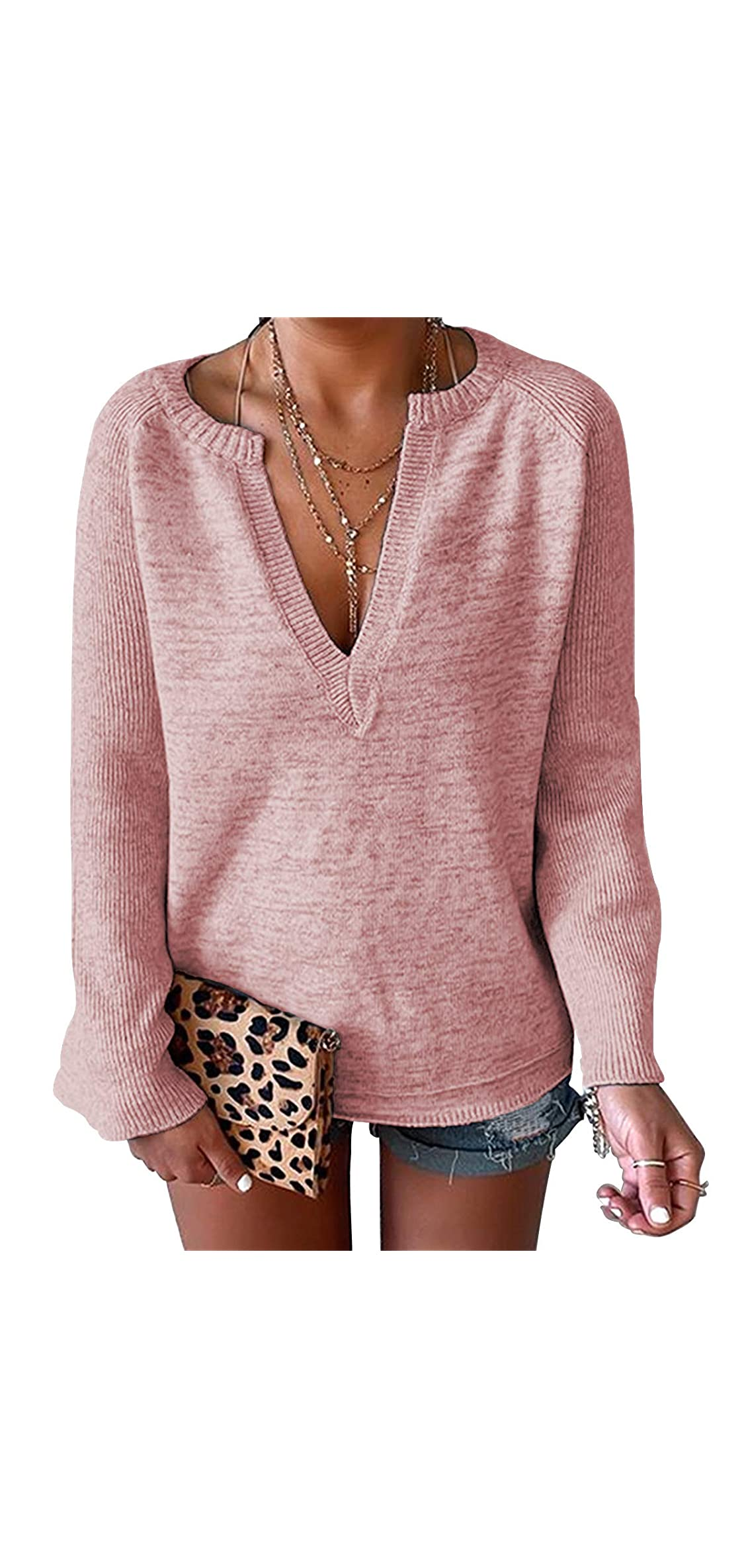 Women's Casual Deep V-neck Bell Sleeve Solid Pullover