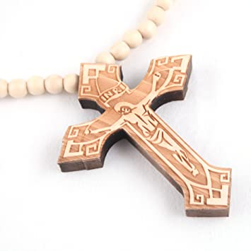 Beige Jesus Piece Cross Wood Necklace Pendant Wooden Chain
