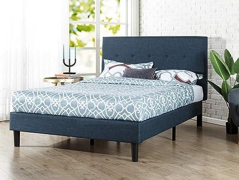 Zinus Cama de plataforma tapizada en azul marino con detalles ...