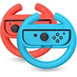 TalkWorks Steering Wheel Controller for Nintendo Switch (2 Pack) - Racing Games Accessories Joy Con Controller Grip for Mario