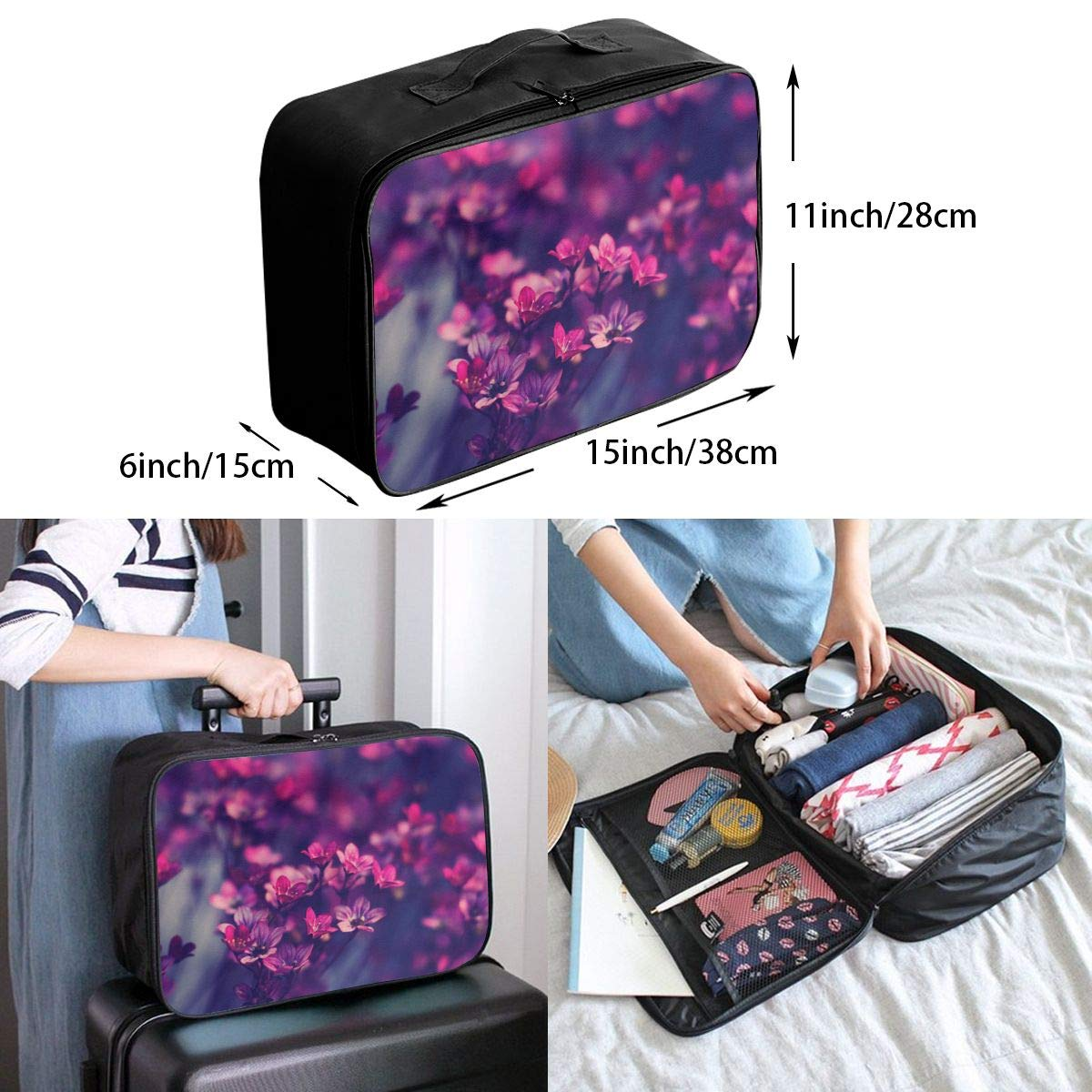 Travel Luggage Duffle Bag Lightweight Portable Handbag Red Flower Print Large Capacity Waterproof Foldable Storage Tote
