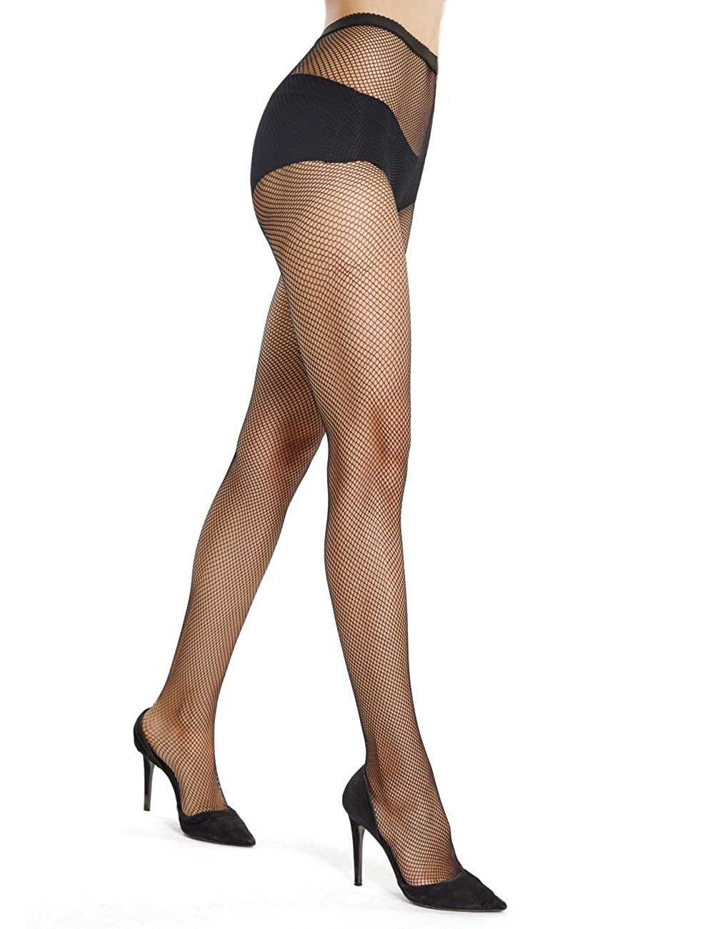 akiido High Waist Tights Fishnet Stockings Thigh High Stockings Pantyhose Black-Large Grid