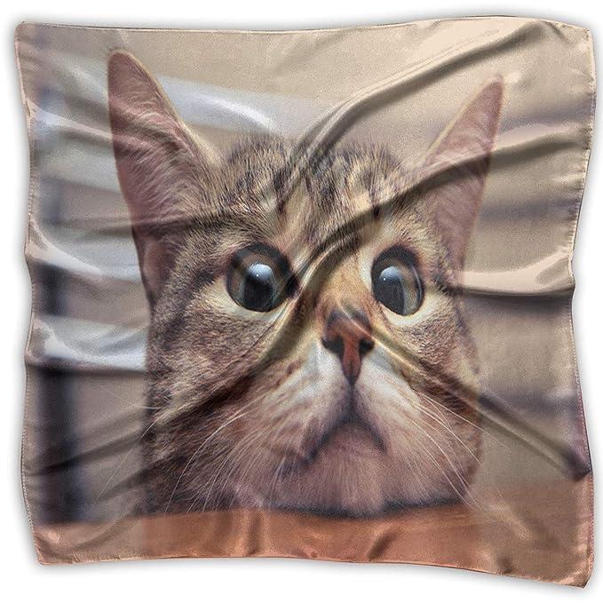 Amazon.com: Pañuelo cuadrado con cabeza de gato en el ...
