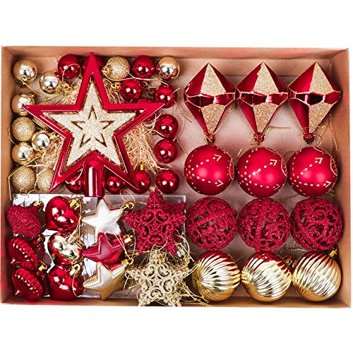 valery madelyn 70 pcs 30 100mm luxury red gold shatterproof christmas baubles tree ball decorations - Red And Gold Christmas Decorations