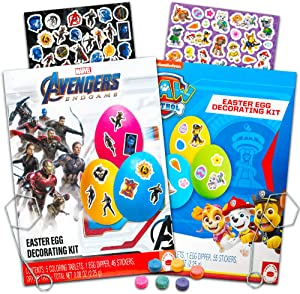Easter Egg Decorating Kit Marvel Avengers / Paw Patrol Bundle -- 2 Easter Eggs Coloring Kits Filled with Stickers, Coloring Tablets, Dippers and More