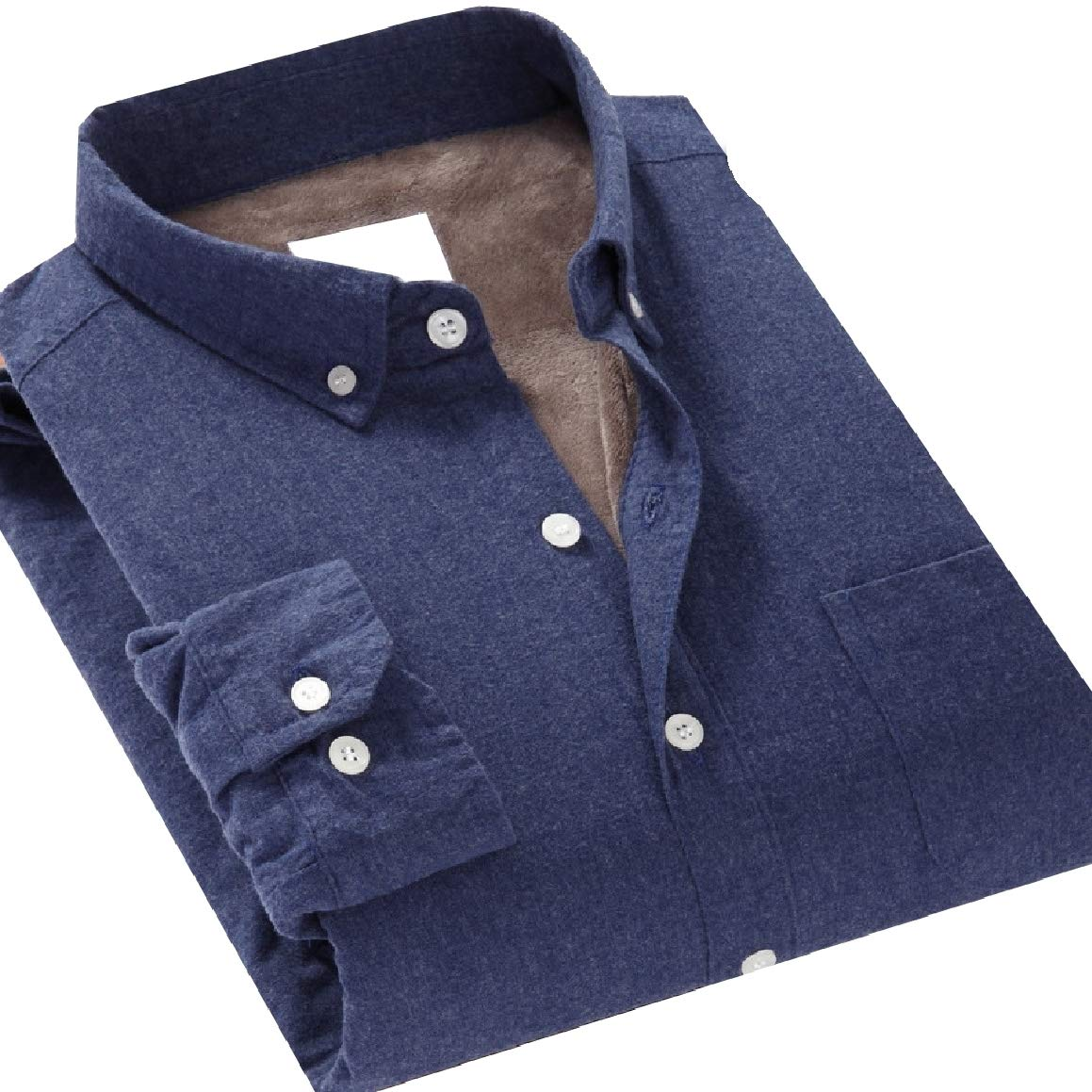 RomantcMen Stretch Thickening Plus Velvet Solid-Colored Business Shirts
