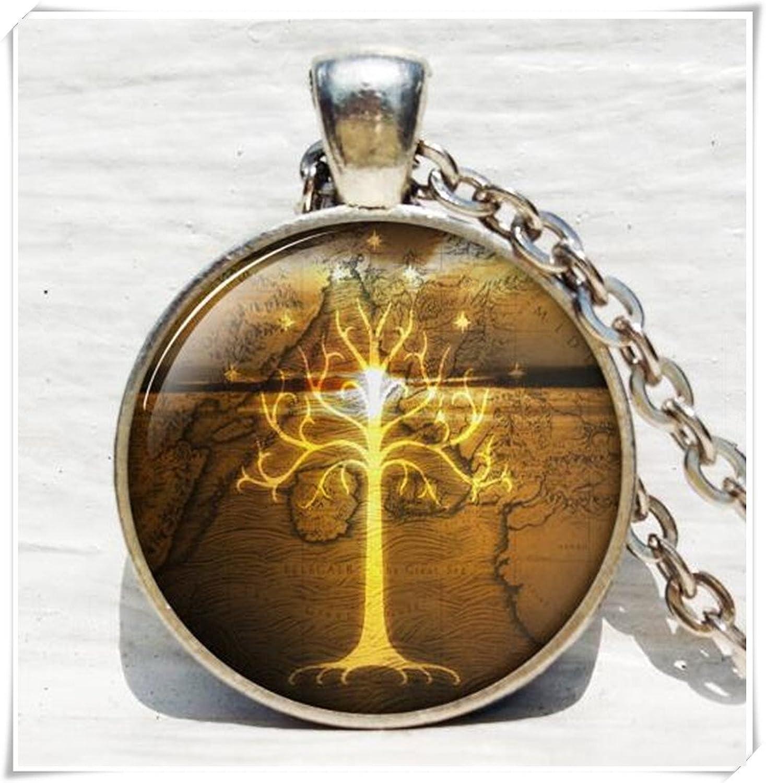 Árbol blanco de Gondor, árbol de oro joyería, árbol de vida collar