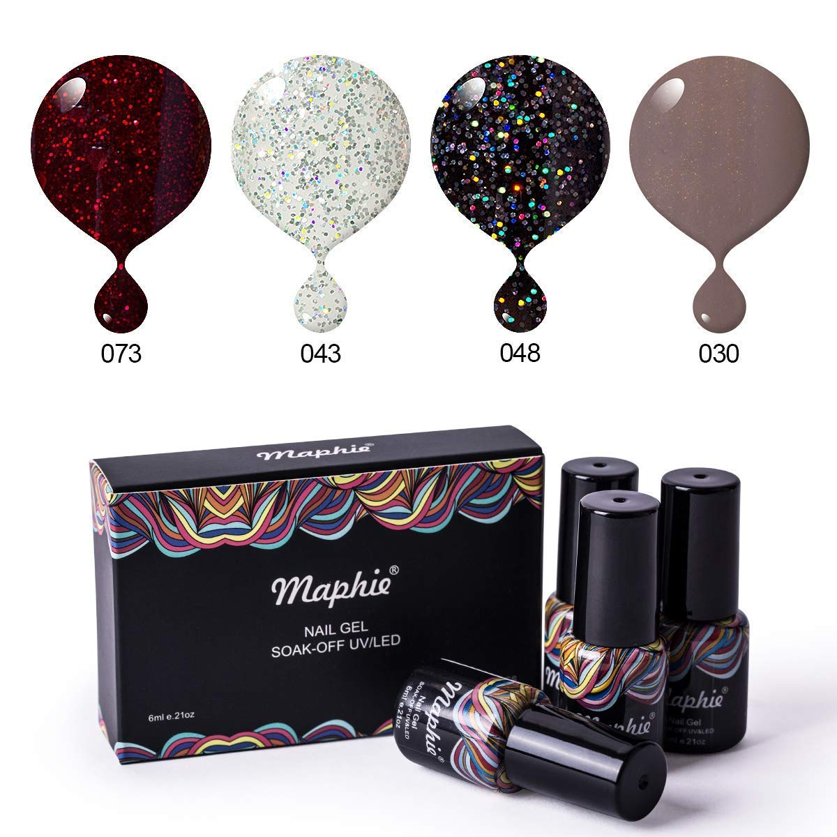 Maphie Gel Nail Polish Set - of Autumn Maple Leaf Setting Sun Glitter Collection Colors Need UV LED Lamp- 4pcs/set 0.21 OZ
