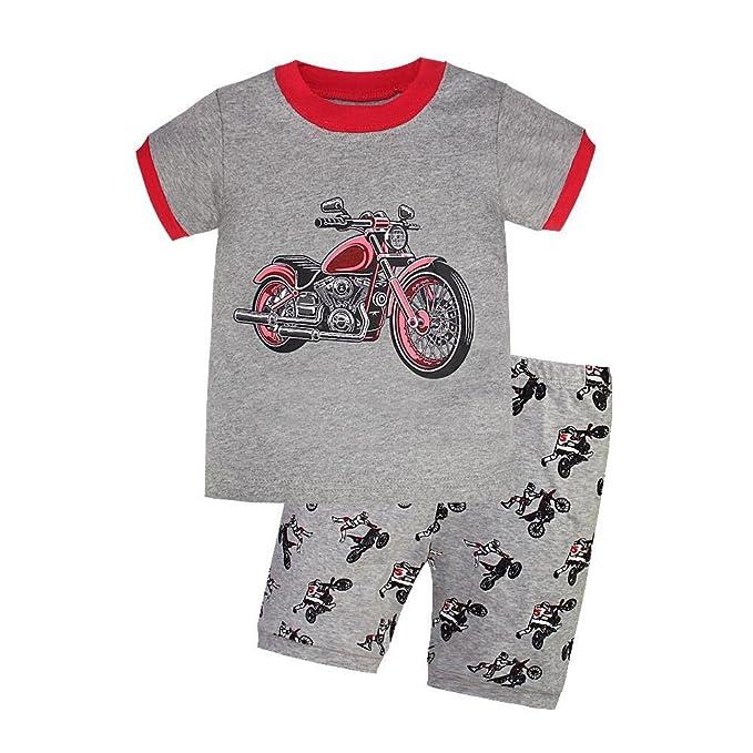 Amazon.com: Boy de moto para pijama 2 piezas 100% pijama de ...