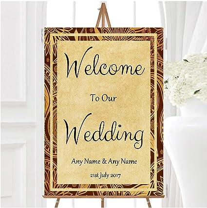 Cartel de boda de estilo vintage, color marrón y dorado ...