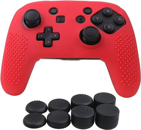 YoRHa Tachonado silicona caso piel Fundas protectores cubierta para Nintendo Switch Pro Mando x 1 (rojo) Con PRO los puños pulgar thumb gripsx 8: Amazon.es: Videojuegos