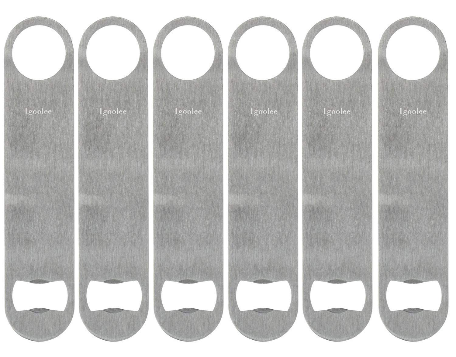 Igoolee Heavy Duty Stainless Steel Flat Bottle Opener, 6 Pack Beer Bottle Opener for Kitchen, Bar or Restaurant