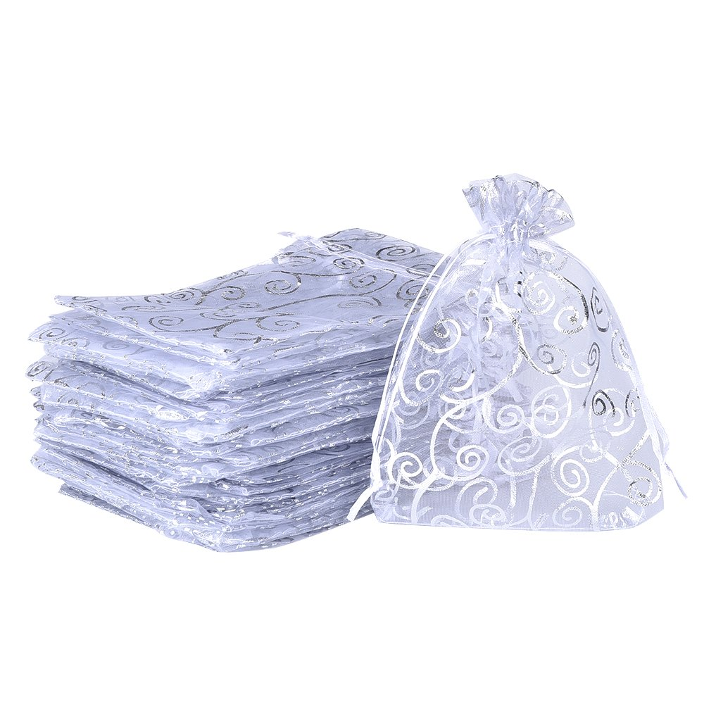 50 Pack White Organza Drawstring Gift Bags Party Wedding Favor Jewelry Pouches eBoot