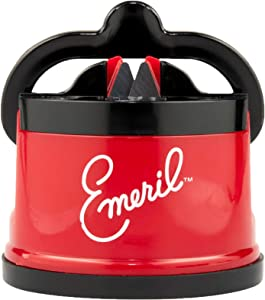 Emeril Knife Sharpener with Suction Pad, Red