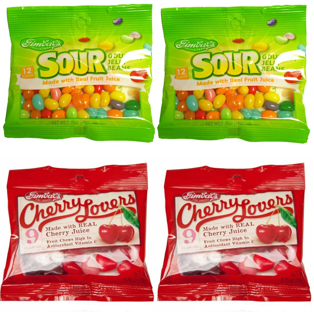 Gimbal's Gourmet Candies - Variety 4 Pack - 2 Bags Sour Jelly Beans, 2 Bags Cherry Lover's Candy