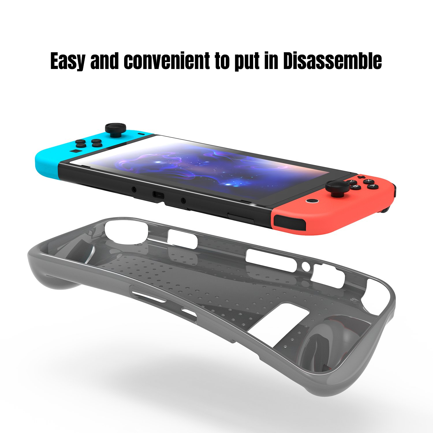 Protective Case for Nintendo Switch, Heat Dissipation Soft Comfortable Switch TPU Game Cover with Shock-Absorption Design Protective Cover Case for Nintendo Switch Console