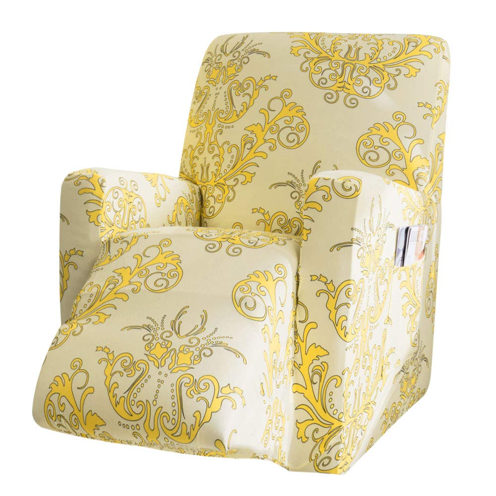 TIKAMI Stretch Recliner Sofa Slipcovers Chair Covers with Remote Pocket Printed Furniture Protector(Yellow Print)