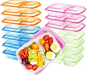 Supernal 36 Pack Meal Prep Containers,Clear Bento Box,2 Compartment with Lids, Food Storage Containers, Microwave/Dishwasher/Freezer Safe(Orange,Pink,Green,Blue)
