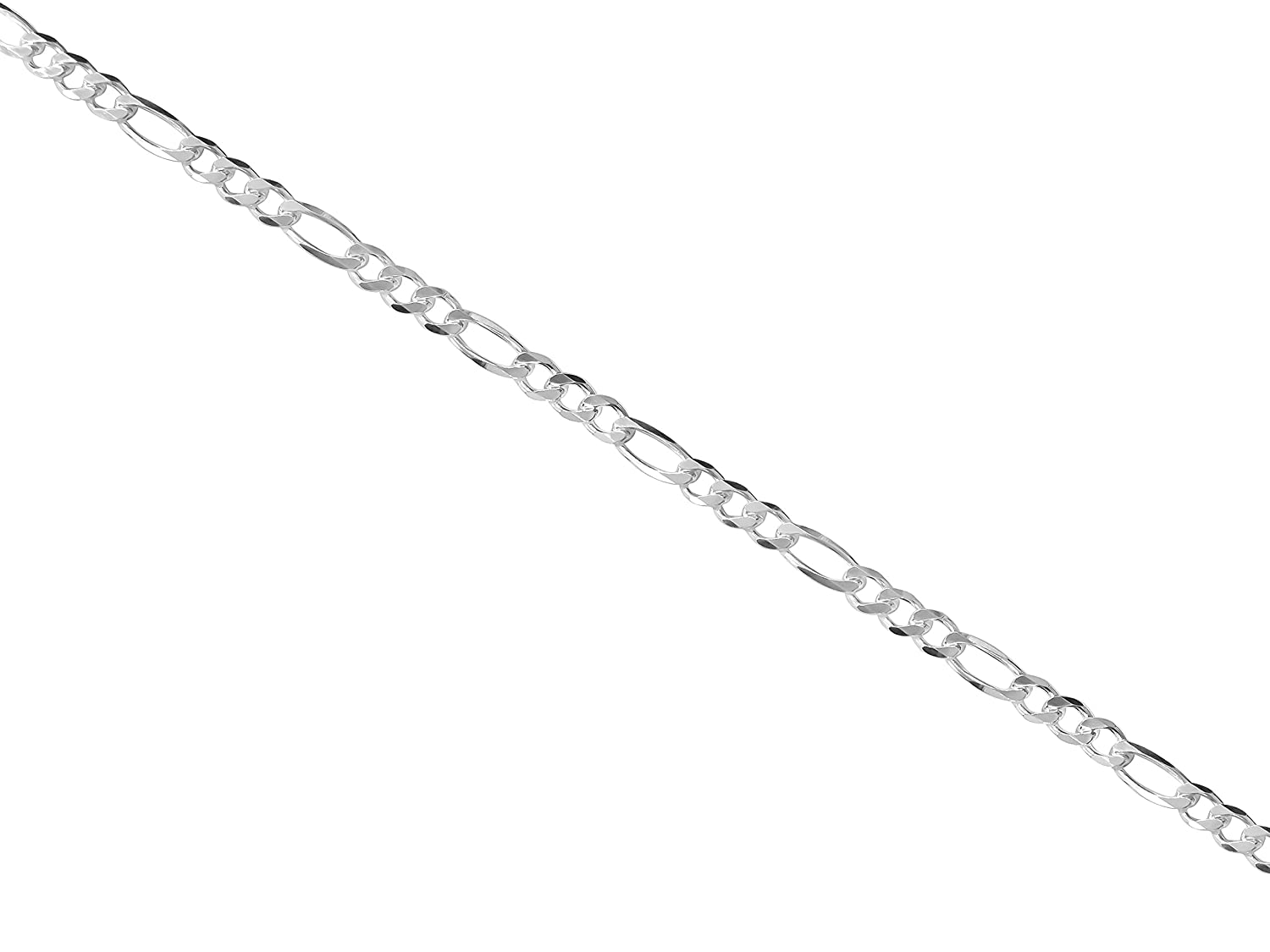 16 to 30 Inches MCS Fashion Jewelry Collection Sterling Silver Figaro Chain Necklace Italian Made Diamond-Cut 1mm to 5.5mm