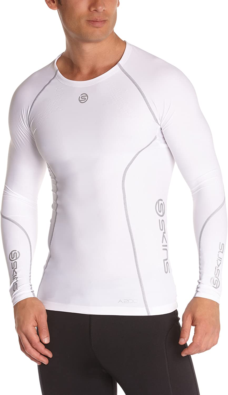 Skins Homme dnamic Team Compression Haut à Manches Longues Blanc Sports Running Gym